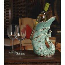 Tabletop Rustic Ceramic Peacock Wine Holder