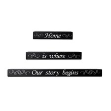 3 Piece 'Home is Where Our Story Begins' Sentiment Shelves