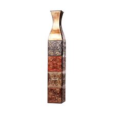 Color Tile Embossed Iron Decorative Vase