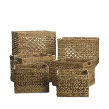 5 Piece Rectangle Open Weave Basket Set