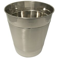Shiny Long-lasting Stainless Steel Double Ribbed Wastebasket