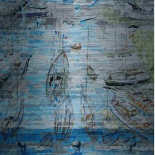 Sea of Boats-Painting Print on Brushed Aluminum