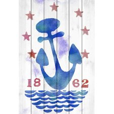 Anchors Away Graphic Art on Wood Planks in White