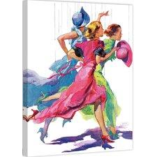 "Peanuts ""Three Women Running from Rain"" by John LaGatta Painting Print on Canvas"