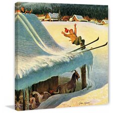 Barn Skiing by John Clymer Painting Print on Canvas