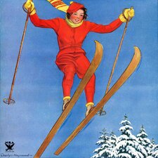 Woman Ski Jumper by Carolyn Haywood Painting Print on Canvas