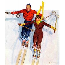 Couple Downhill Skiing by R.J. Cavaliere Painting Print on Canvas