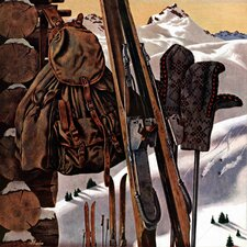 Ski Equipment Still Life by John Atherton Painting Print on Canvas