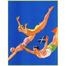 Diving Women and Man by John Newton Howitt Painting Print on Canvas