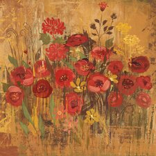 Floral Frenzy Red VI Painting Print on Wrapped Canvas