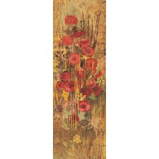 Floral Frenzy Red IV Painting Print on Wrapped Canvas