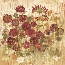 Floral Frenzy Burgundy VI Painting Print on Wrapped Canvas
