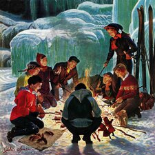 Apres Ski Bonfire by John Clymer Painting Print on Wrapped Canvas