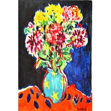 Bouquet with Orange Cloth by Michael Woodward Painting Print on Wrapped Canvas