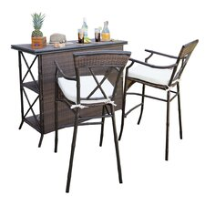 Rum Cay 3 Piece Bar Set with Cushions