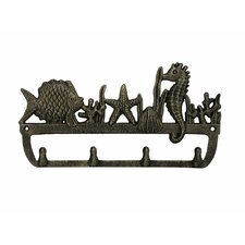 """12"""" Rustic Silver Cast Iron Wall Mounted Seahorse and Fish Hook"""