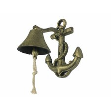 """Anchor 8"""" Rustic Silver Cast Iron Wall Mounted Bell"""