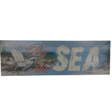 Wooden Rustic By the Sea Beach Sign Wall Decor