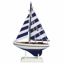 Pacific Sailer Wooden Striped Model Sailboat