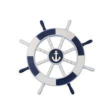 """Ship 18"""" White Decorative Ship Wheel with Anchor Wall Décor"""