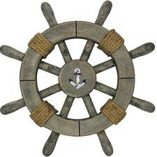 Rustic Decorative Ship Wheel with Anchor Wall Decor
