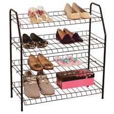4 Shelf Stacked Metal Wire Shoe Rack