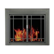 Edinburg Prairie Cabinet Style Fireplace Screen and 9-Pane Smoked Glass Door