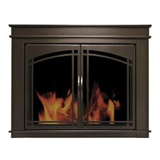 Fenwick Cabinet Style Fireplace Screen & Arch Prairie Smoked Glass Door