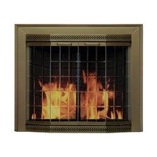 Grandior Bay Fireplace Screen and Bi-Fold Track-Free Elegant Clear Glass Door