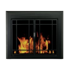 Easton Prairie Cabinet Style Fireplace Screen and 9 Pane Smoked Glass Door