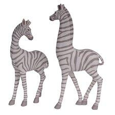 2 Piece Zebra Figurine Set