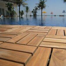 "EZ-Floor Wood 12"" x 2"" Interlocking Flooring Tile Trim in Teak (Set of 10)"