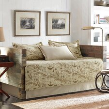 Map 5 Piece Daybed Quilt Set in Tan