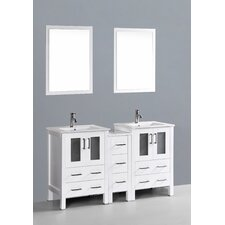 "Contemporary 60"" Double Bathroom Vanity Set with Mirror"
