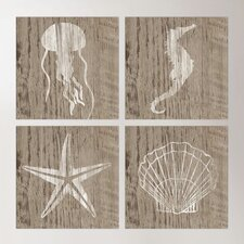 Seascape Wood Wall Art (Set of 4)