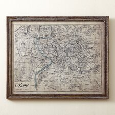 Sepia Rome Map Framed Print