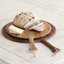 Round Acacia Handled Platter