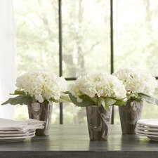 Potted Faux White Hydrangeas (Set of 3)
