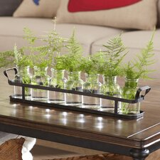 8-Piece Glass Bottle Set with Metal Tray