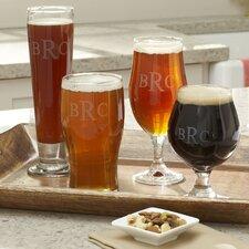 Hops Monogrammed Beer Glasses (Set of 4)
