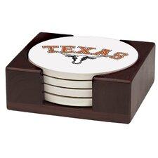 5 Piece University of Texas Wood Collegiate Coaster Gift Set