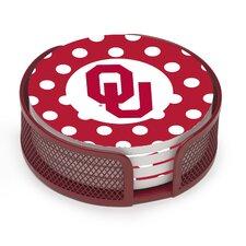 5 Piece University of Oklahoma Dots Collegiate Coaster Gift Set