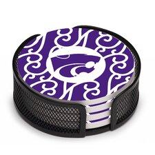 5 Piece Kansas State University Swirls Collegiate Coaster Gift Set