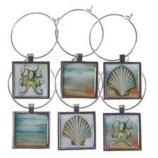 6 Piece Coastal Wine Glass Charm Set