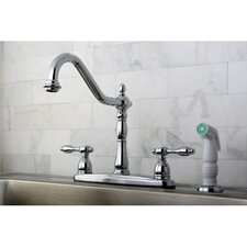 Tudor Double Handle Centerset Kitchen Faucet with Spray