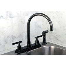 Water Onyx Centerset Kitchen Faucet with Lever Handles and Matching Side Spray