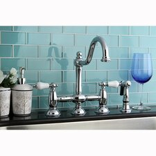 Restoration Double Handle Deck Mount Kitchen Faucet with Spray