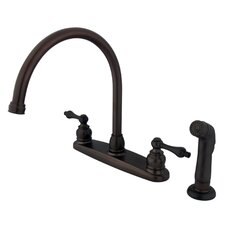 Vintage Double Handle Goose Neck Kitchen Faucet with Non-Metallic Spray