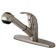 Legacy Single Handle Pull-Out Kitchen Faucet with White Spray