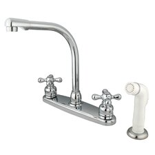 Victorian Double Handle CentersetHigh Arch Kitchen Faucet with White Spray